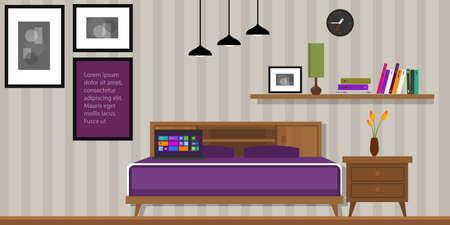 Camera da letto casa vettore interni letto mobili d'epoca Archivio Fotografico - 40912226
