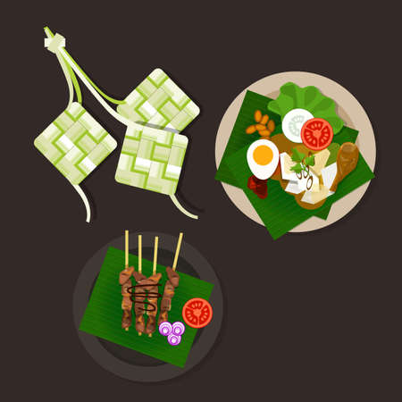 mubarak: lebaran ketupat idul fitri ied food sate opor ayam vector asian food Illustration