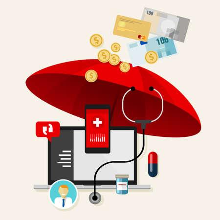醫療保健: 醫療保險保障,奧巴馬保健費 向量圖像