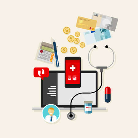 medical bill: medical treatment cost payment expense finance health Illustration