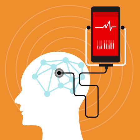 neuroscience: mental brain health monitoring mobile phone vector illustration