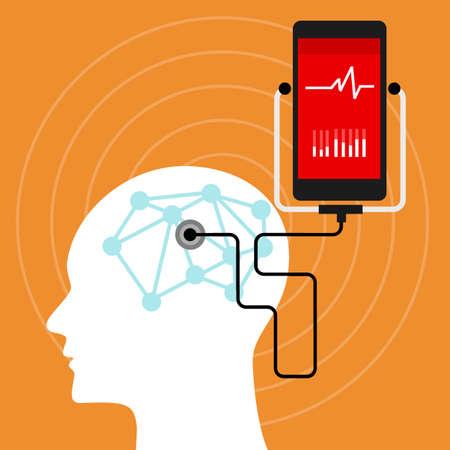 mente humana: vigilancia de la salud mental, cerebral teléfono móvil ilustración vectorial Vectores