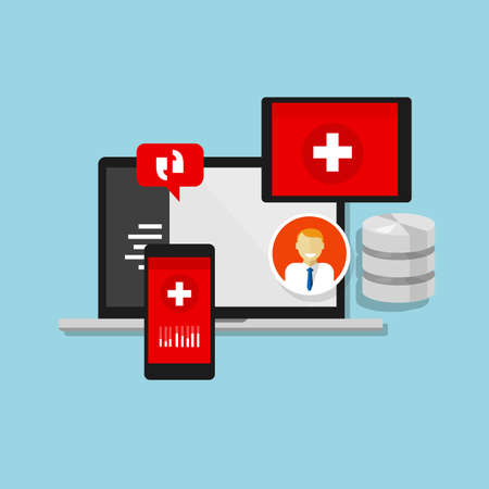 record: health medical record information system database hospital data Illustration