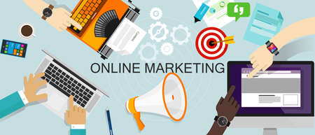 Online Marketing Promotie Branding Advertentie advertenties web reclame Stock Illustratie