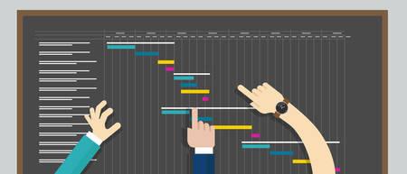 プロジェクト管理・ ガントチャート計画タイムライン コラボレーション  イラスト・ベクター素材