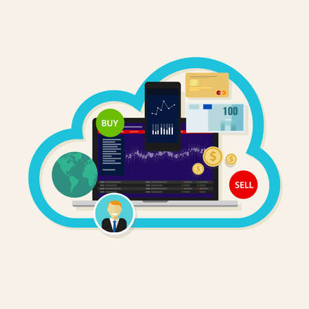 online stocks forex index trading cloud laptop mobile buy sell Illustration