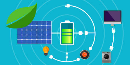 environmentally friendly: solar panel battery pack home green technology electricity grid