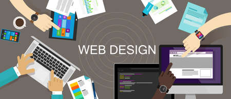 Web Design Content Creative Website Responsive technology vector desk Illustration
