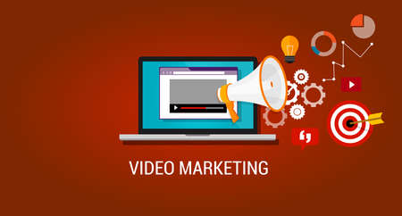 marketing online: video marketing youtube advertising webinar digital advertising online Illustration