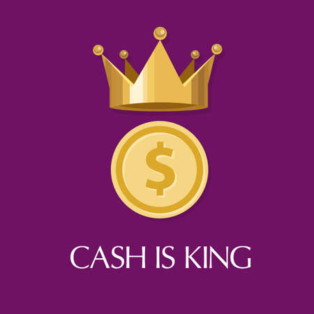 cash is king money is everything flow in business Illustration