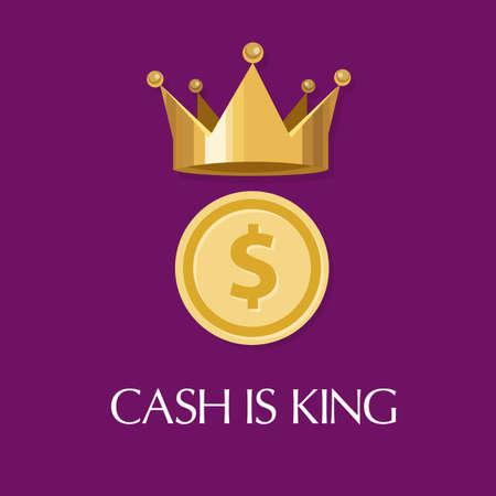 rey: el efectivo es rey dinero fluya todo en los negocios Vectores