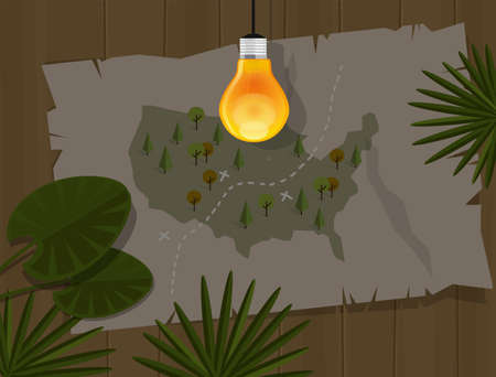 lost world: map jungle bulb night america in the dark Illustration