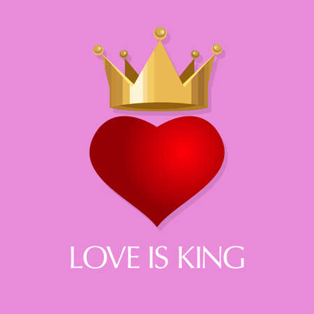 heart with crown: love is king vector illustration crown heart