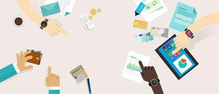 Persönliche Finanzen Finanzplan Familienbudget Zusammenarbeit Schreibtisch Standard-Bild - 41390400