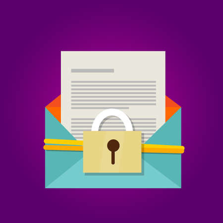 email secure document protection security hacking vector key Ilustrace