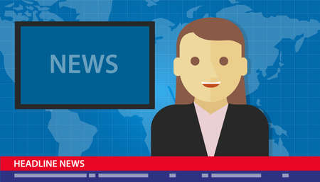 ancla: ancla titular mujer noticias de �ltima hora medios tv Vectores