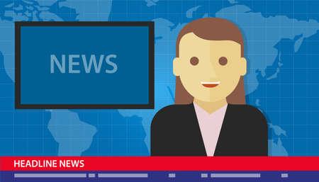 Kotwa kobieta prasówkach łamanie tv media Ilustracje wektorowe