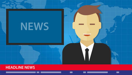 press news: anchor man news headline breaking tv media