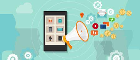 vyplacena podpora online reklamy pay per click marketing digitální Ilustrace