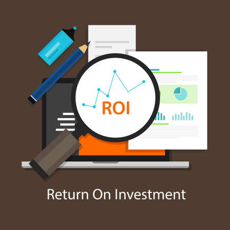 ROI Return on of investment business plan 向量圖像
