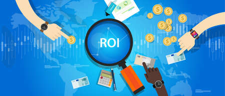 investment strategy: ROI Return on of investment business plan Illustration