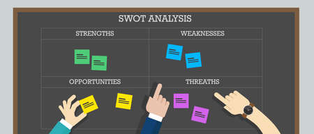 swot analysis: strength weakness opportunity threat analysis business icon board Illustration