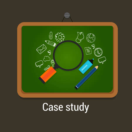 case: case study studies icon flat laptop magnifier learn analysis
