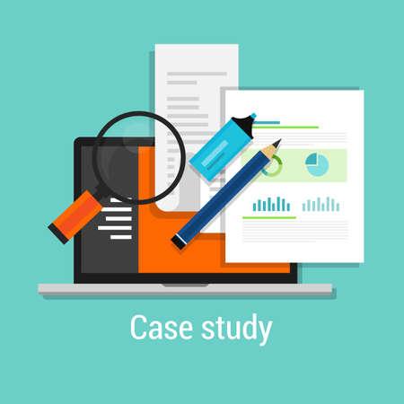 study: případová studie studie ikona plochý laptop lupou učit analýzu