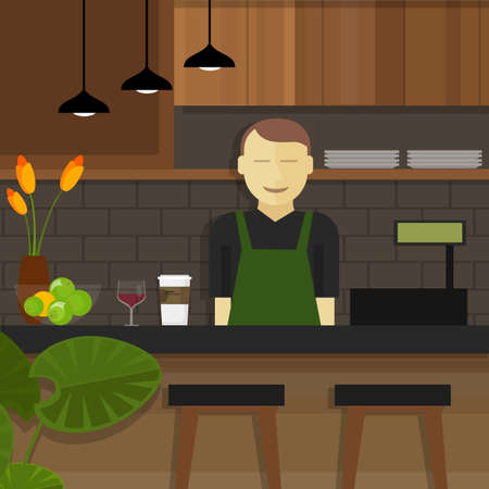 Shop Cafe assistent serveerster lachen achter kassier kleine ondernemer Vector Illustratie