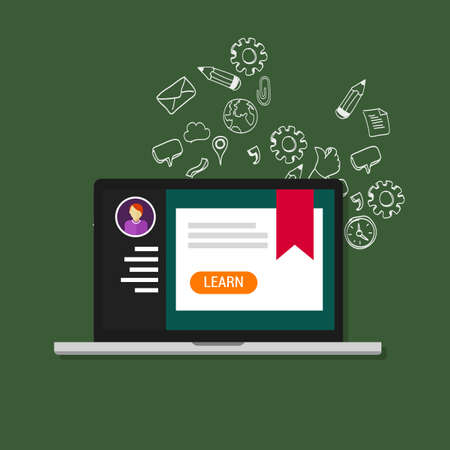 online course laptop education college school graduate certificate webinar Illusztráció