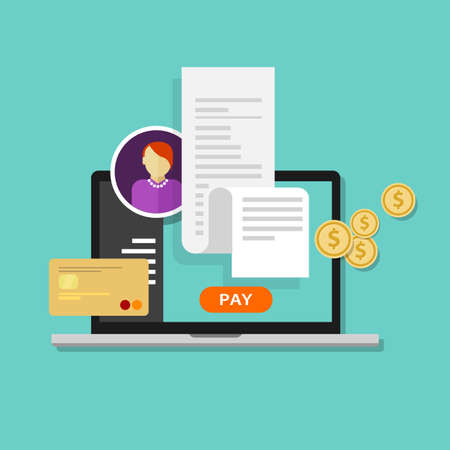 factura: pagar recibo de impuestos de facturas en línea a través del pago de ordenador o tarjeta de crédito portátil Vectores