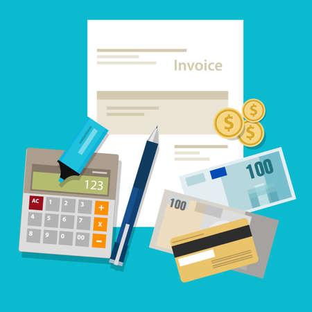 請求書の支払のお金の計算機支払いを請求  イラスト・ベクター素材