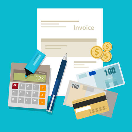 tax office: invoice invoicing payment money calculator bill pay