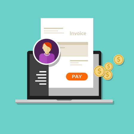 internet symbol: invoice invoicing online service pay click laptop payment pay Illustration