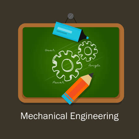 studies: mechanical engineering study subject studies class board vector Illustration
