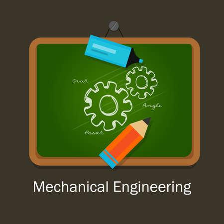 vector studies: mechanical engineering study subject studies class board vector Illustration