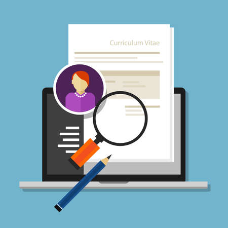 interview: curriculum vitae cv resume employee recruitment data paper work Illustration