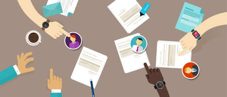 desk job: select cv resume on the desk employee recruitment process vector