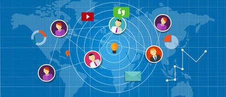interconnected: medios red social interconectada personas en todo el mundo en globo Vectores