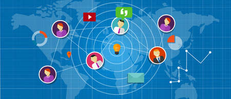 expansion: social network media interconnected people around the world globe