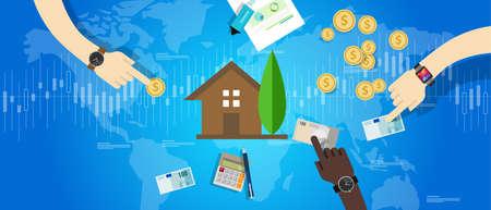 zakelijk: onroerend woningmarkt huizenmarkt investering prijs waarde vector