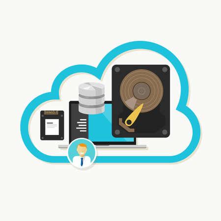 servicios publicos: base de datos de almacenamiento en la nube Web de archivos en l�nea compartir vectorial Vectores