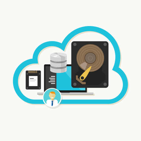 file sharing: web cloud storage database online file sharing vector