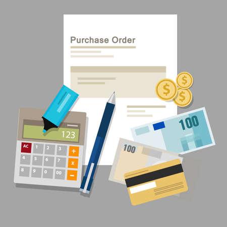 purchase order po document paper work procurement process vector