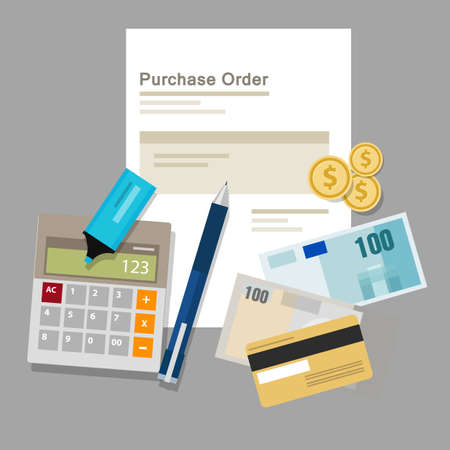 online purchase: purchase order po document paper work procurement process vector