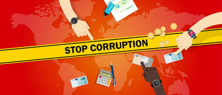 stop corruption bribe corrupt hands offering money cash vector