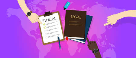 honorable: law legal vs ethical ethics vector moral
