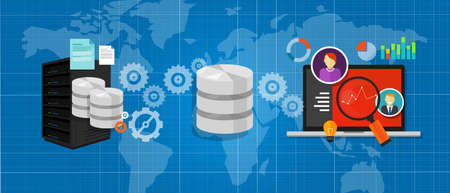 base de datos de integración de datos conectar archivos de medios gráfico vector de análisis de símbolos