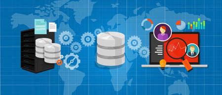 meseros: base de datos de integración de datos conectar archivos multimedia símbolo gráfico de análisis vectorial