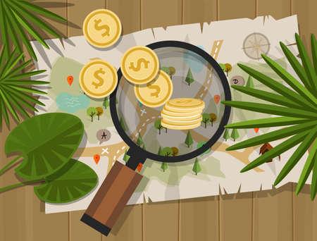 gold treasure: find treasure hunt money map coin vector